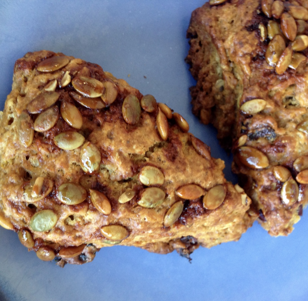 Pumpkin Scones with Caramelized Pepitas